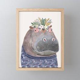 Hippo with flowers on head Framed Mini Art Print