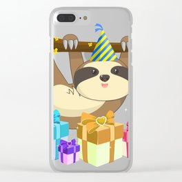 Cute Hanging Sloth With Birthday Hat Gift Idea T-Shirt Clear iPhone Case