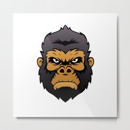 Gorilla Head Cartoon. Metal Print
