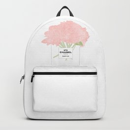 minimal no. 5 perfume with pink flowers Backpack