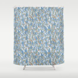 Light blue penguins Shower Curtain