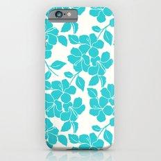Hibiscus Floral: Turquoise Slim Case iPhone 6