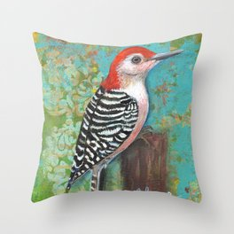 Red Bellied Woodpecker by Robynne Throw Pillow