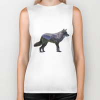 rocky Biker Tanks featuring The Rocky Mountain Gray Wolf by Davies Babies