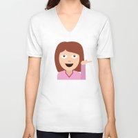 emoji V-neck T-shirts featuring Sassy Emoji by Brittany Metz
