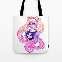 pastel goth Tote Bags featuring Pastel Goth Usagi (Glasses ON) by Gunkiss