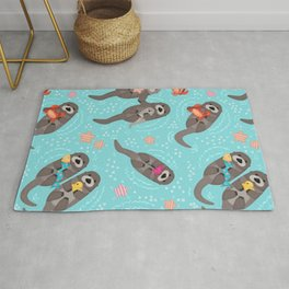 Otters Playing Aquamarine Rug