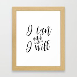 PRINTABLE ART I Can And I Will Print,Printable Art,Motivational Art,Girl Framed Art Print