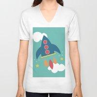 rocket V-neck T-shirts featuring Rocket by Kathrin Legg