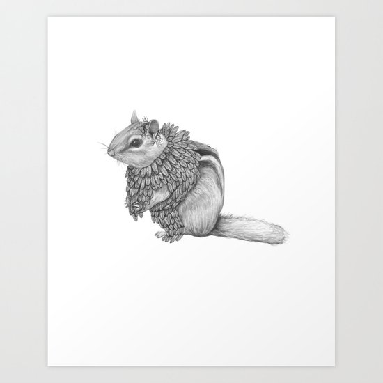 The Chipmunk- Feathered Art Print