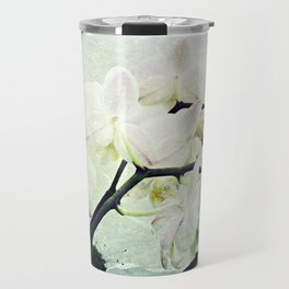 Textured White Orchid Flower Photography #2 Travel Mug