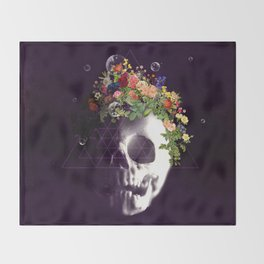 Skull with flowers no1 Throw Blanket