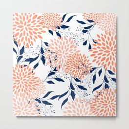 Floral Prints and Leaves, White, Coral and Navy, Art for Walls Metal Print