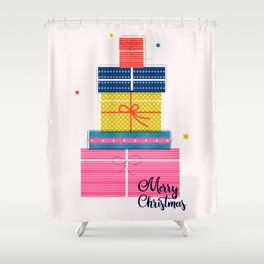 Pile of christmas presents Shower Curtain