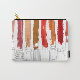Lipstick Stripes - Red Orange Gold Carry-All Pouch