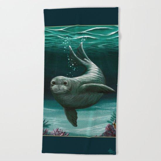 """Hawaiian Monk Seal"" by Amber Marine ~ Acrylic Painting, (C) 2015 Beach Towel"