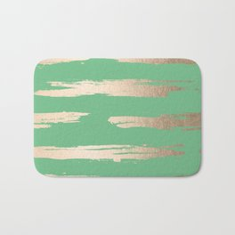 Abstract Paint Stripes Gold Tropical Green Bath Mat