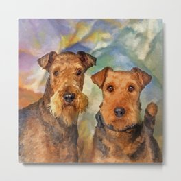 Airedale Terriers Portrait Mixed Media Metal Print