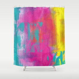 Neon Abstract Acrylic - Turquoise, Magenta & Yellow Shower Curtain
