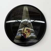 porsche Wall Clocks featuring Porsche 356 by Regina Hoer