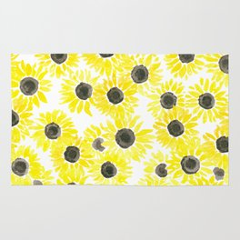 Sunflowers watercolor pattern Rug