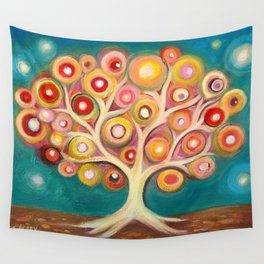 Tree of life with colorful abstract circles Wall Tapestry