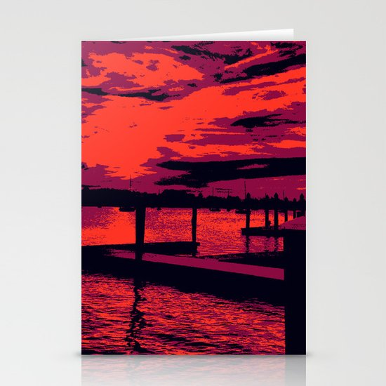 Sunset Over Bristol Harbor Stationery Cards