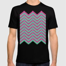 Hot Pink & Mint Mens Fitted Tee Black MEDIUM