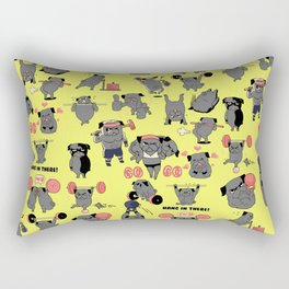 Black Pug Crossfit Rectangular Pillow