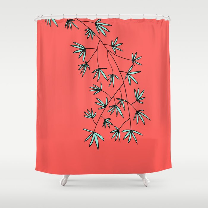 Coral and Teal Botanical Print by Emma Freeman Designs Shower Curtain