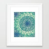 mandala Framed Art Prints featuring Emerald Doodle by micklyn