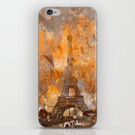 Paris Eifel Tower orange mixed media art iPhone Skin