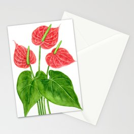 Flamingo flower watercolor Stationery Cards