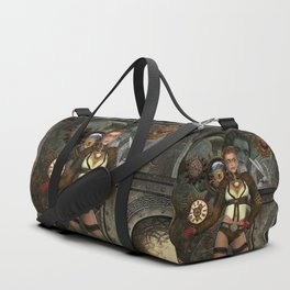 Steampunk, steampunk women with clocks and gears Duffle Bag