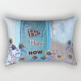 Be Here Now Inspirational Quote with Flowers Rectangular Pillow