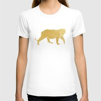 gold foil T-shirts featuring Gold Foil Tiger by Mod Pop Deco