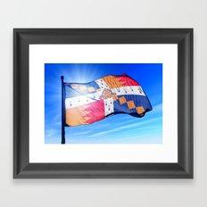 Birmingham, England, flag waving on the wind Framed Art Print