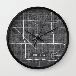 Phoenix Map, Arizona USA - Charcoal Portrait Wall Clock