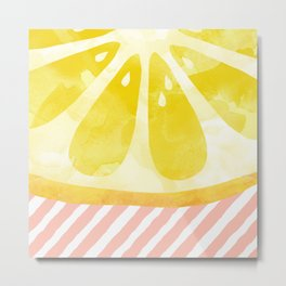 Lemon Abstract Metal Print