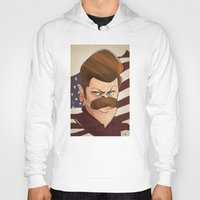 ron swanson Hoodies featuring Ron Swanson by nachodraws