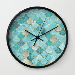 Moroccan Mermaid Fish Scale Pattern, Aqua,Teal Wall Clock