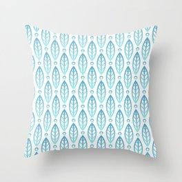 Contemporary Leaf and Circle Pattern Turquoise Blue Ombre Throw Pillow