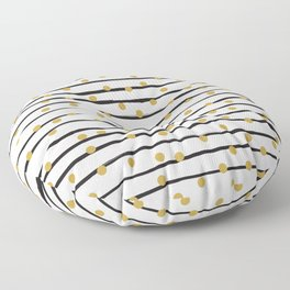 Modern black and gold hand drawn stripes dots pattern Floor Pillow