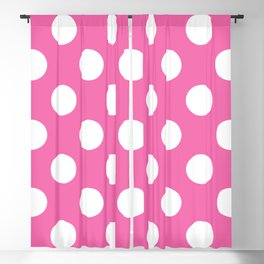 Geometric Candy Dot Circles - White on Strawberry Pink Blackout Curtain