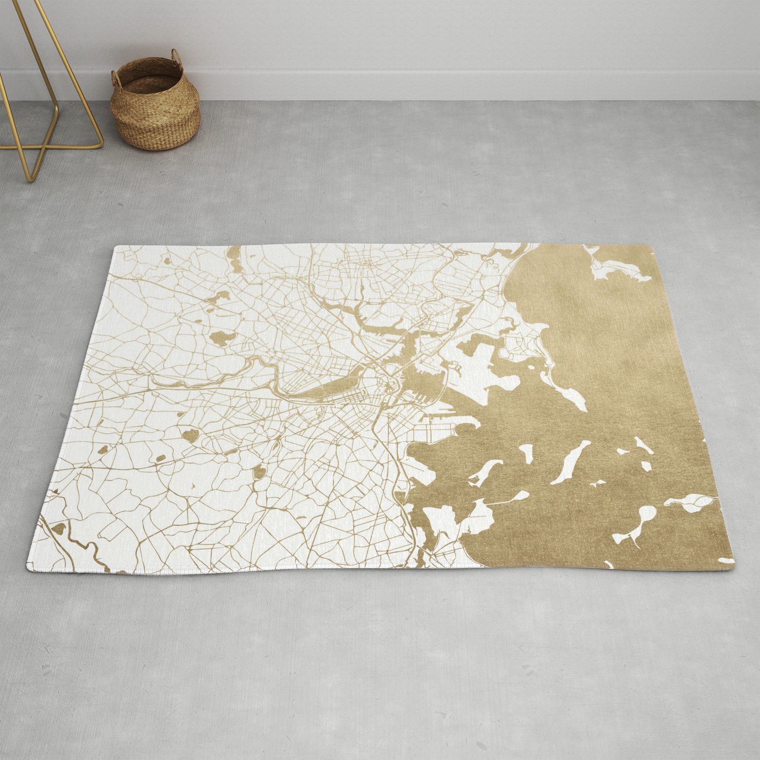 Boston White And Gold Map Rug By