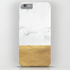 Color Blocked Gold & Marble iPhone 6 Plus Slim Case