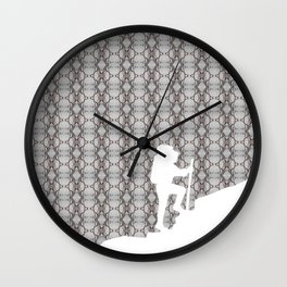 First Bud in Snow patterned Wall Clock