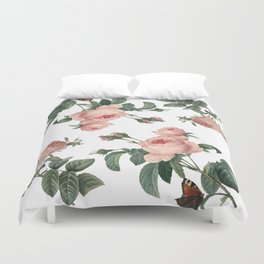 Rose Garden Butterfly Pink on White Duvet Cover
