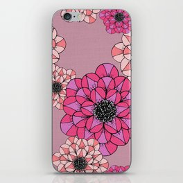 Pink Abstract Flowers Sketch Illustrated Pattern iPhone Skin