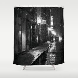 Nightlife district with snowfall № V Shower Curtain